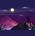 nature landscape with wolf howling at moon vector image