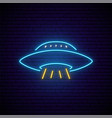 neon ufo signboard bright glowing flying saucer vector image vector image