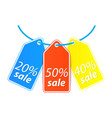 price tag hang on the thread vector image vector image