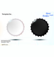 realistic mockup black and white beer cap vector image vector image
