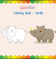 Rhino coloring book educational game vector image vector image