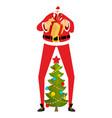 santa claus and christmas tree high santa and vector image vector image