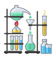 science equipment in chemistry laboratory vector image vector image