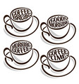 Set of outline coffee cups vector image