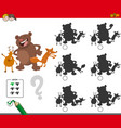 shadows game with wild animal characters vector image vector image