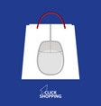 shopping bag with mouse logo vector image