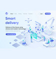 smart delivery isometric landing page vector image