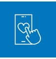 Smartphone with heart sign line icon vector image vector image