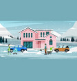 snowy house vector image
