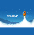 startup space rocket launch art creative idea vector image vector image