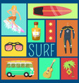 summer icons seamless pattern vacation on seaside vector image vector image