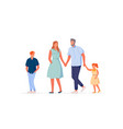 traditional family walking on white background vector image vector image