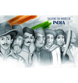 tricolor india background with nation hero and vector image vector image