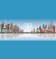 welcome to usa skyline with gray buildings blue vector image vector image