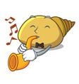 with trumpet mollusk shell mascot cartoon vector image