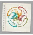 Doodle Teamwork hands on sheet of paper vector image