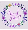 Watercolor floral card with text thank you vector image