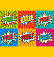 free - comic book style stickers free banners in vector image