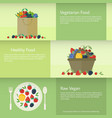 banners or cards with berries in flat style vector image