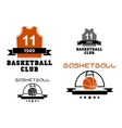Basketball emblems with court ball jersey vector image