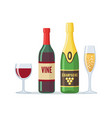 bottles red wine and champagne icon in flat vector image