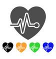 cardio pulse flat icon vector image vector image