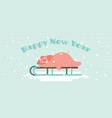 cute lazy pig lying on a winter slide merry vector image vector image
