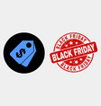 Dollar tags icon and scratched black friday