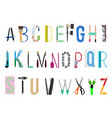 english alphabet from office supplies vector image vector image