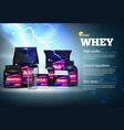 fitness sport protein advertising vector image vector image