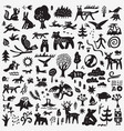 forest animals - doodle set graphic icons vector image vector image