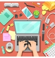 Freelance Workplace with Laptop and Accessories vector image