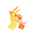 funny llama character wearing party hat with gift vector image vector image