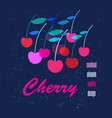 graphic color poster with cherries vector image