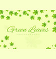 green background with leaves greeting design vector image