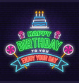 happy birthday to you neon sign stamp badge with vector image