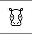 head hippo line icon animal outline logo vector image