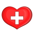 Heart with Swiss flag icon cartoon style vector image vector image