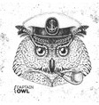 hipster animal owl captains cap and smoking pipe vector image