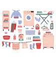 home laundry clean laundry clothes washing vector image