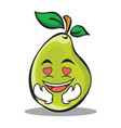 in love pear character cartoon vector image vector image