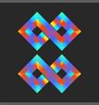 infinite logo mockup colorful 3d two rhombuses vector image