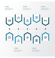 journey outline icons set collection of video vector image vector image