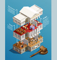 judgement hall isometric infographics vector image vector image