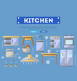 kitchen furniture poster in flat style vector image