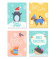 let it snow hello winter 60s colorful postcard vector image vector image