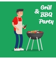 Man of cooking meat with a grill Barbecue party vector image vector image