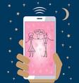 mobile phone in hand sending love wedding valentin vector image vector image