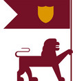 plain and geometric heraldic flag lion with shield vector image