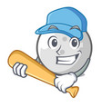 playing baseball golf ball character cartoon vector image